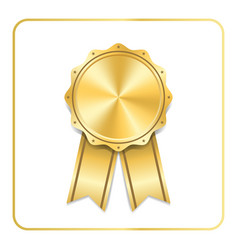 award ribbon gold icon vector image