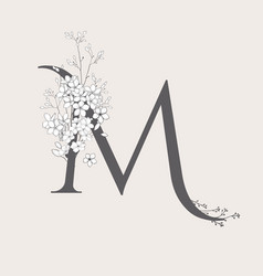 blooming floral initial m monogram and logo vector image