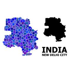 Blue round dot mosaic map new delhi city vector