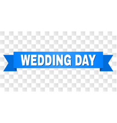 Blue stripe with wedding day title vector