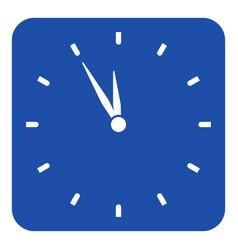 Blue white sign - last minute clock icon vector