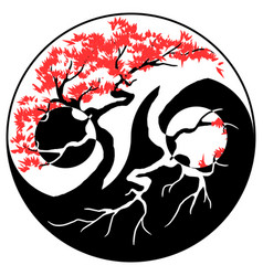 bonsai yin yang vector image