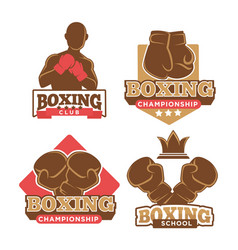 Boxing club colorful logotypes set isolated on vector