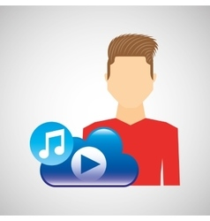 Cartoon man fashionable cloud music play vector