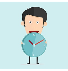 Cartoon with clock in flat design vector