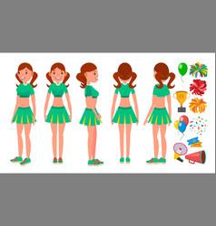 Cheerleaders girls set different poses vector