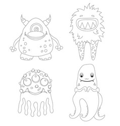 Childrens coloring page with funny cartoon vector