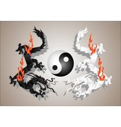 chinese dragons yin and yang vector image
