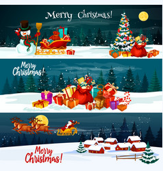 Christmas holiday santa gift banners vector