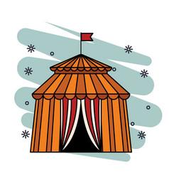 Circus tent icon skyscrapers silhouette cityscape vector
