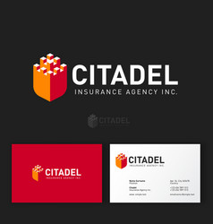citadel logo insurance agency castle like shield vector image