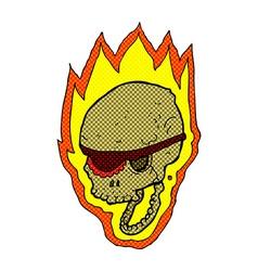 comic cartoon flaming pirate skull vector image