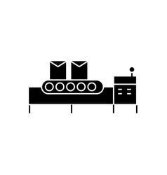 conveyor belt icon black vector image