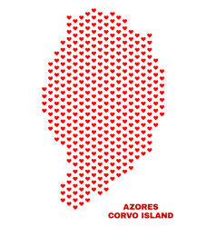 corvo island map - mosaic of love hearts vector image