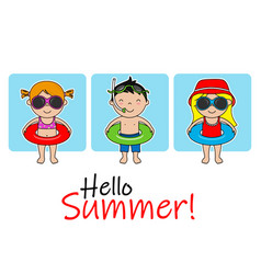 cute children with swimsuit and float vector image