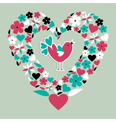 Cute social bird love vector image