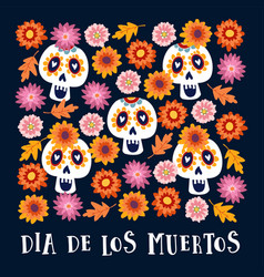 Dia de los muertos or halloween greeting card vector