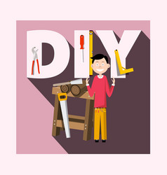 Diy - do it yourself concept with worker and vector