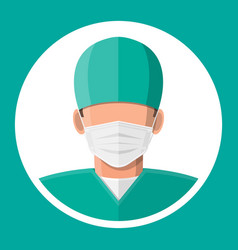 doctor surgeon in mask vector image