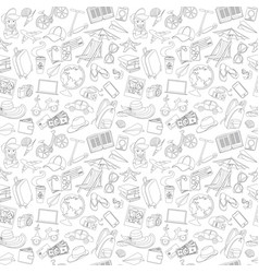 doodle icons seamless travel pattern vector image