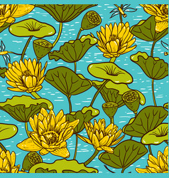 Elegant yellow water lilies nymphaea seamless vector