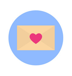 envelope heart shape icon on blue round background vector image
