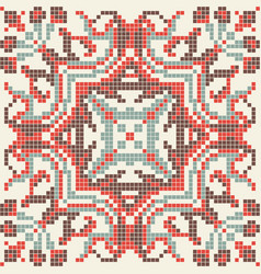 Ethnic pixel seamless pattern embroidery vector