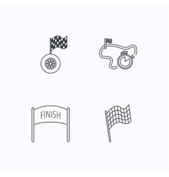 Finish flag race timer and wheel icons vector image