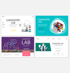 flat chemistry laboratory websites set vector image