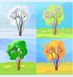 four seasons banners winter spring summer and vector image
