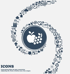 Fruits web icons in the center Around the many vector image