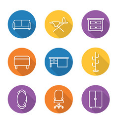 furniture flat linear long shadow icons set vector image