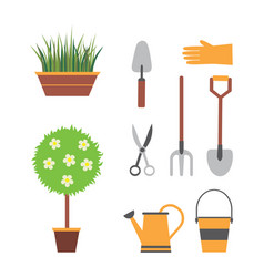 Garden set with tools vector