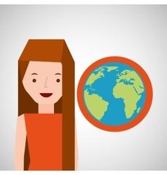 Girl globe world tourist traveler vector
