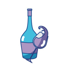 Glass splashing and bottle of wine icon vector