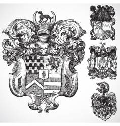 Gothic coat arms ornaments vector