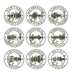 Grunge rubber stamps with New York San Francisco vector image