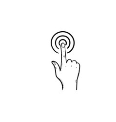 hand with point finger touch button hand drawn vector image