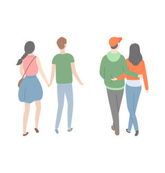 happy couple back view dating lovers people vector image