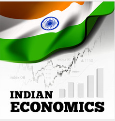 indian economic with flag of vector image
