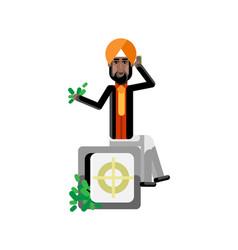 Indian man sitting on bank safe vector