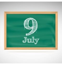 July 9 day calendar school board date vector