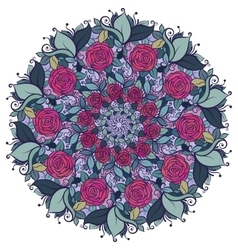Kaleidoscopic floral pattern mandala with roses vector image