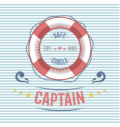 Lifebuoy nautical and marine sailing themed label vector