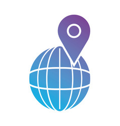 line global planet with location symbol vector image