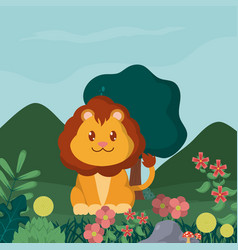 lion cute animals cartoons vector image