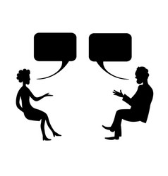 man and woman are talking drawing image vector image