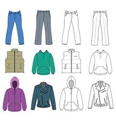 Man clothes colored autumn collection vector