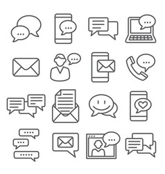 message line icons set on white background vector image