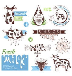 Milk decorative elements vector image